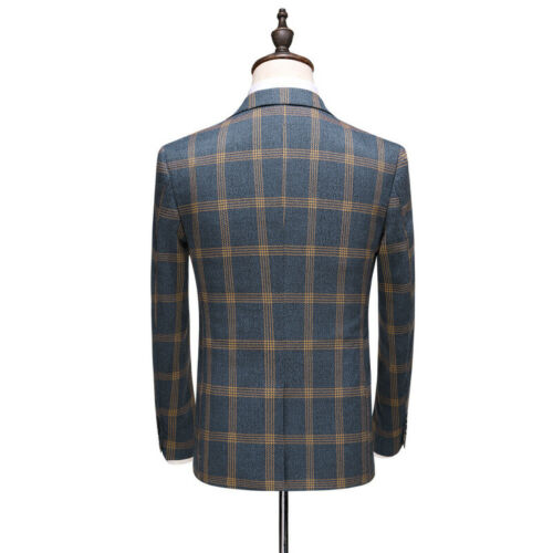 Plaid Men/'s Suits Vintage Groom Tuxedos Formal Wedding Prom Party Dinner Suit