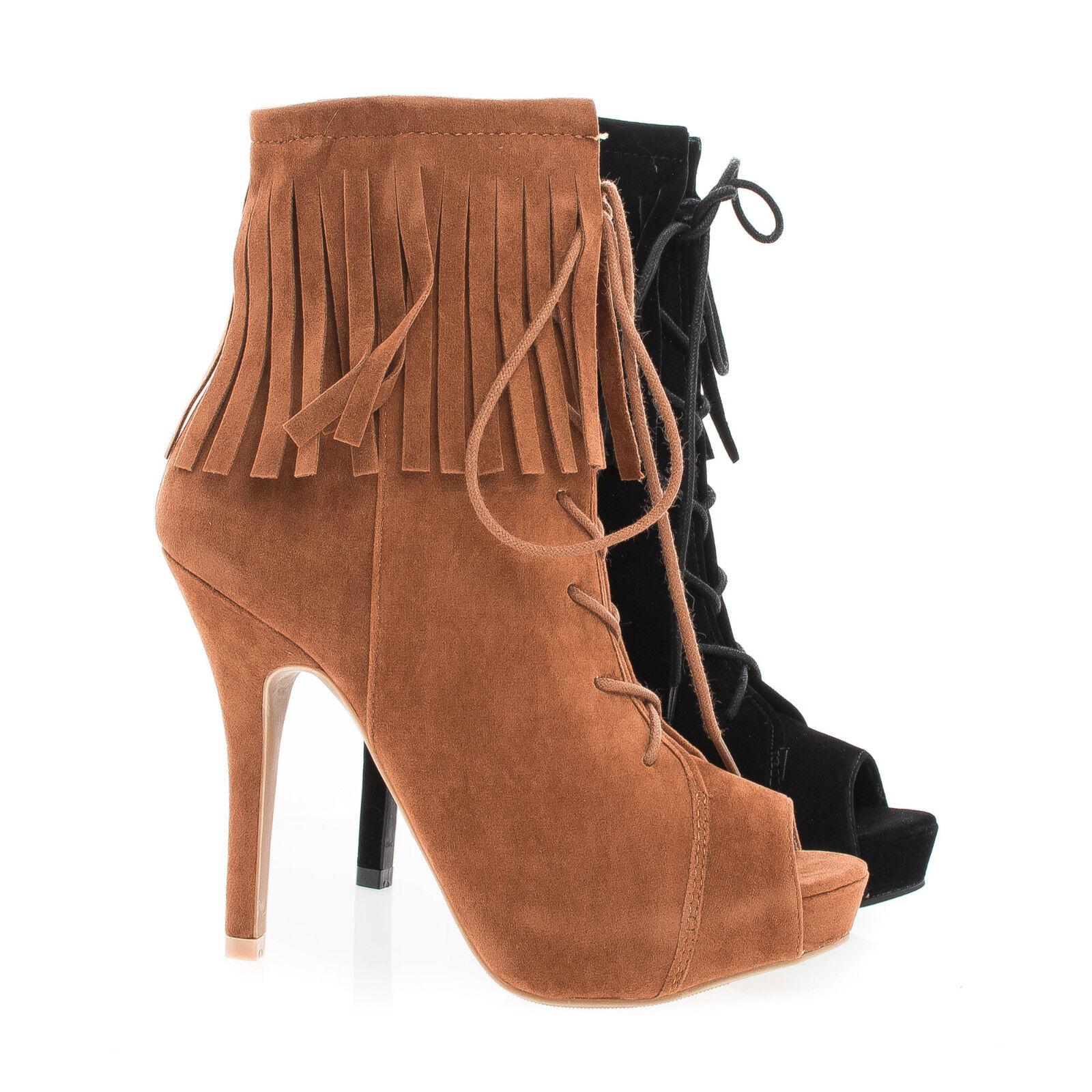 Verdict88 Peep Toe Corset Lace Up Ankle Cuff Fringe Stiletto Booties