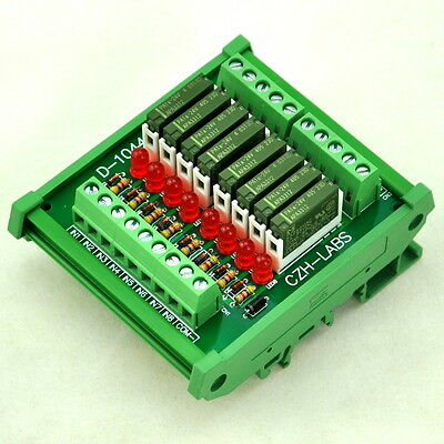 Slim DIN Rail Mount DC24V Source/PNP 8 SPST-NO 5A Power Relay Module, PA1a-24V
