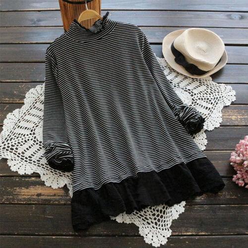 ZANZEA Women High Neck Casual Lace Crochet Blouse Shirt Tops Stripe Jumper Plus