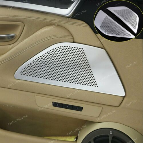 Aluminum alloy Door Speaker Cover Trim 2pcs For BMW 5 Series 2011-2017 Silver