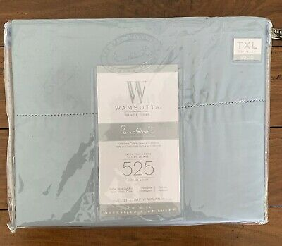 Wamsutta PimaCott 525-Thread-Count Sateen Twin Flat Sheet in Light Blue
