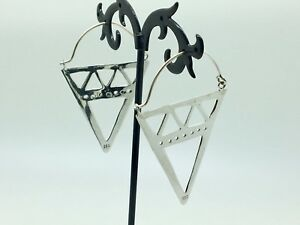 Genuine-925-Sterling-Silver-Triangle-Hoop-Earrings-Tribal-Boho-Gypsy-Ethnic-Open
