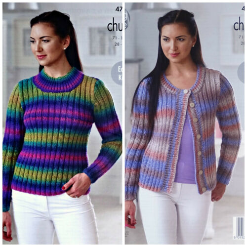 KNITTING PATTERN Ladies Easy Knit Rib Jumper /& Cardigan Chunky King Cole 4715