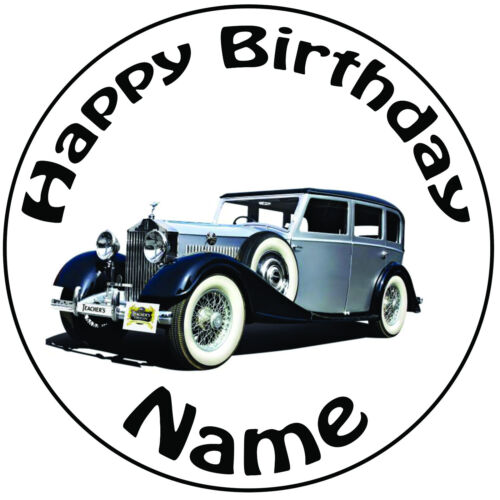 """Personalised Vintage Classic Rolls Royce Round 8/"""" Precut Icing Cake Topper"""
