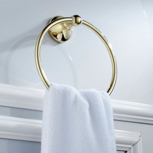JU/_ Am/_ Gold Plated Wall Mounted Brass Towel Ring Holder Hanger Bathroom Acces