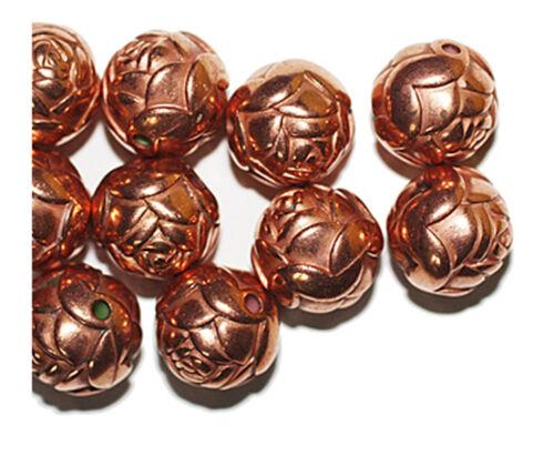 Big Rosebud Round 14mm Bright Copper Metalized Metallic Beads