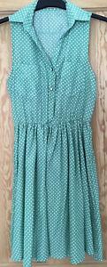 Topshop Lovestruck Green/White Spotted Shirt Waisted Dress S/M