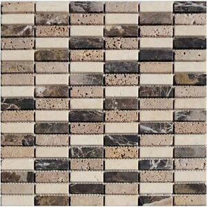 Natursteinmosaik Stick Braun Beige Granit Fliesen Mosaik Boden Wand