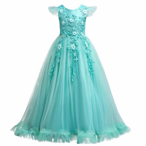 Flower Girl Dress Princess Party Wedding Bridesmaid Birthday Formal Ball Gown