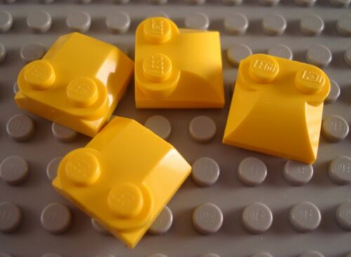LEGO Lot of 4 Yellow 2x2 Curved Top Stud Engine Brick Parts