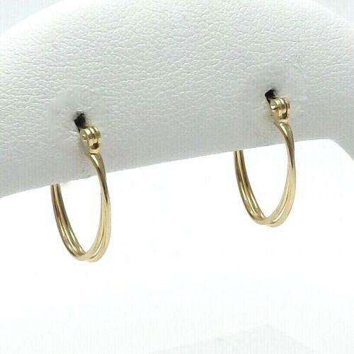 14K Gold Oval Double Twist Hoop Earrings