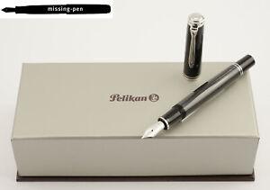 Pelikan-m805-M-805-Kolben-Fuellfederhalter-Stresemann-in-anthrazit-schwarz