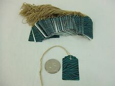 100 Small Scalloped Zebra Turquoise String Tags Price Tag Gift Tag 1 X 1 58