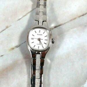 "Vintage PULSAR Quarts Silver Toned Wristwatch Watch Wrist 7"" (GREAT)"
