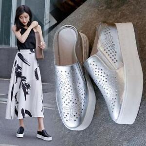 Women-039-s-Platform-Wedge-Leather-Mules-Shoes-Stylish-Sneaker-Sport-Sandal-Athletic