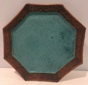 VTG-1992-Art-Pottery-Studio-Octagon-Plate-w-Side-Detail-Blue-amp-Brown-Glaze