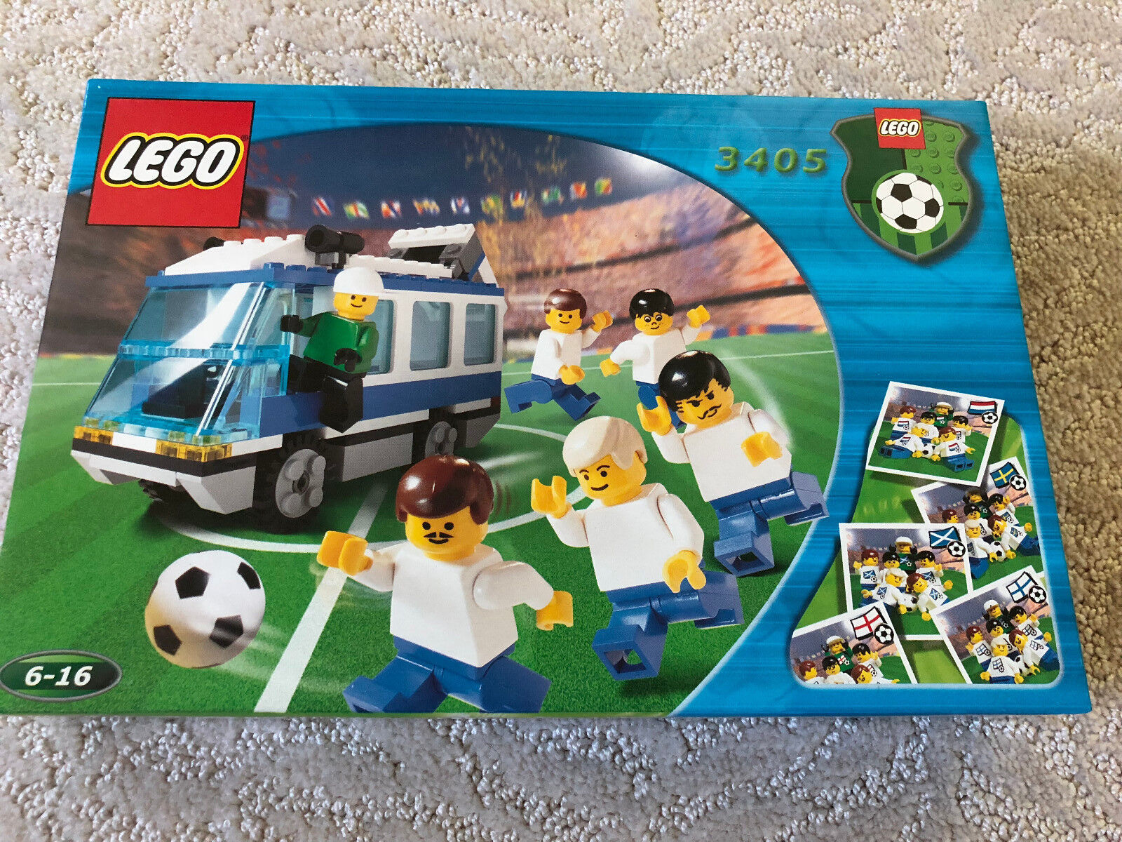 LEGO 3405 blu Bus Team Transport Soccer BRAND NEW