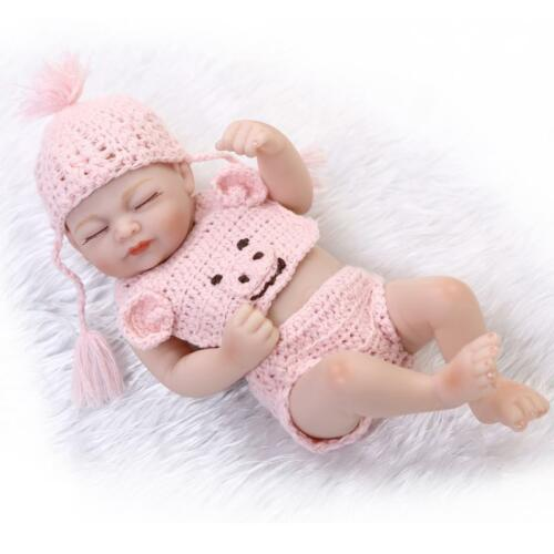 """Full Silicone Tiny Girl Doll Kids Playhouse Bath Doll 11/"""" Pink Sweater Washable"""