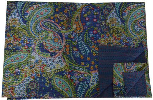 Indian Blue Paisley Reversible Kantha Quilt Handmade Bedspread Twin Throw Gudari