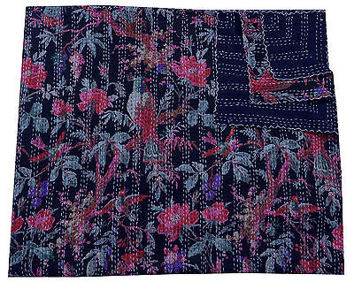BLACK BIRD FLORAL INDIAN REVERSIBLE KANTHA COTTON QUILT COUCH THROW BLANKET