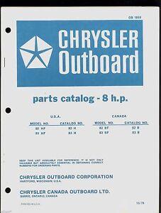 1979 chrysler 8hp outboard motor parts manual ob 1959 ebay rh ebay com Chrysler Engine Parts Chrysler Engine Parts