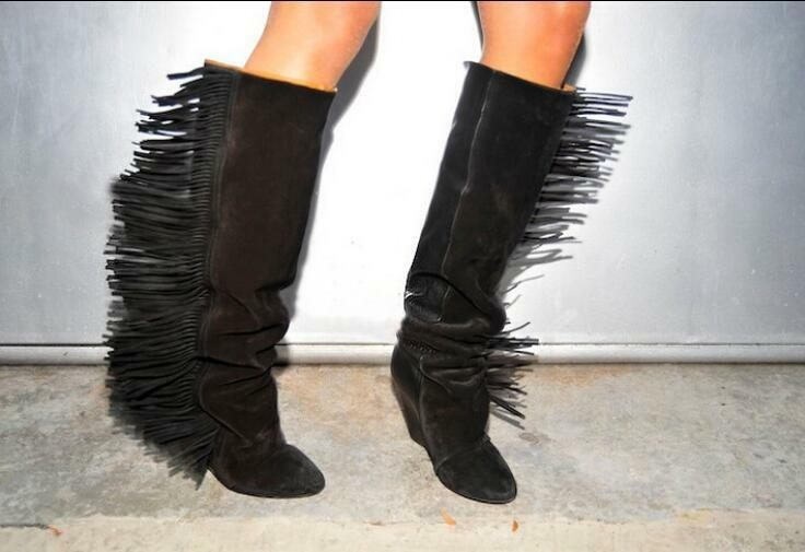 Donna Chic Leather Wedge Heels Pointy Motorcycle Toe Side Fringe Motorcycle Pointy Boots Shoes e0b4d3
