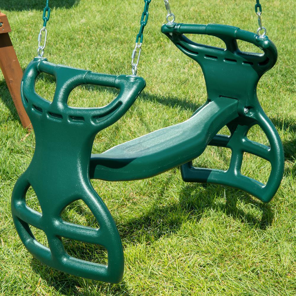 Glider Swing Slide Outdoor Playground Playset Children Dual Ride Plastic Green