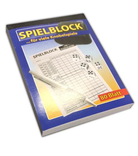 5x Spielblock für KnobelWürfelspieleSpiel Block Knobelspiele