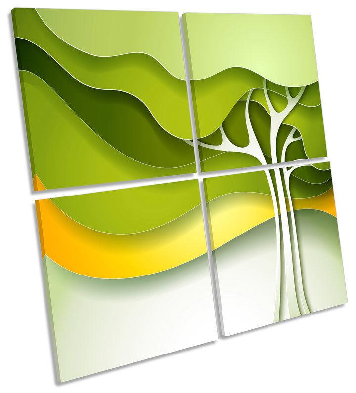 Verde Abstracto Árbol Funky de LONA pared arte cuadrado de Funky impresión de múltiples 6d0456