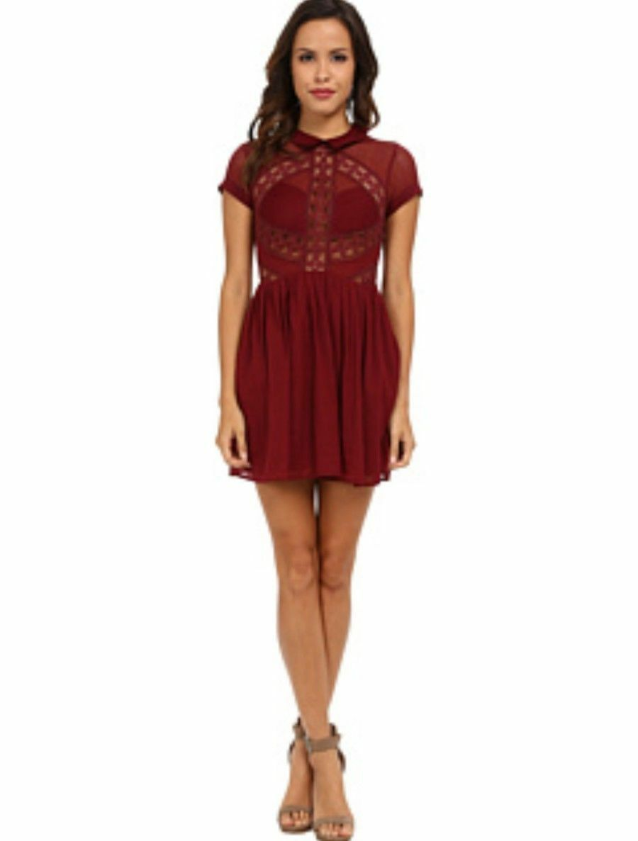 475d36e4ec6 Free People All That Talk Lace Dress 4 NWT Anthropologie Burgundy ...