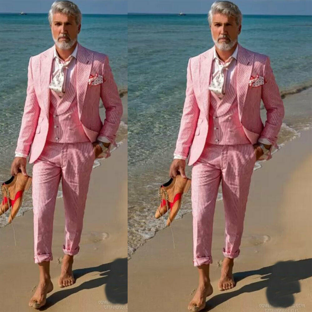 Men Seersucker Suits Red Stripped Formal Tuxedos Slim Fit Wedding Grooms Party