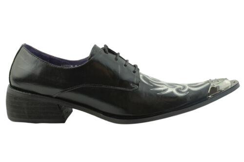 Gucinari Sayer Cuir Noir Hommes Classique Chaussures Blanc Pointu Steel Cap Toe