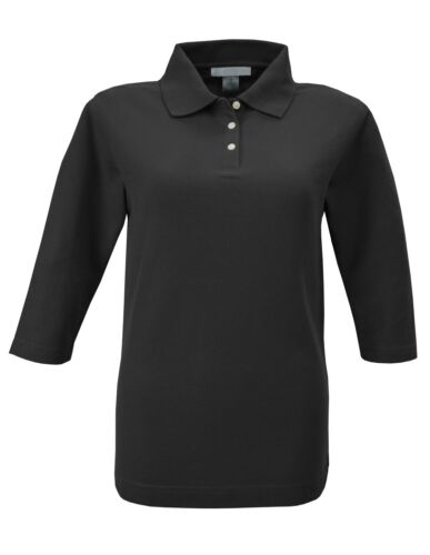 XS-4XL EASY CARE POLO SHIRT LADIES 3//4 SLEEVE COTTON // POLY PIQUE KNIT BLEND