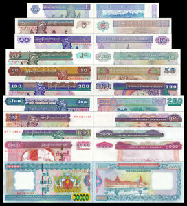 Set-of-11Pcs-Myanmar-1-5-10-20-50-100-200-500-1000-5000-10000-Kyats-Uncirculated