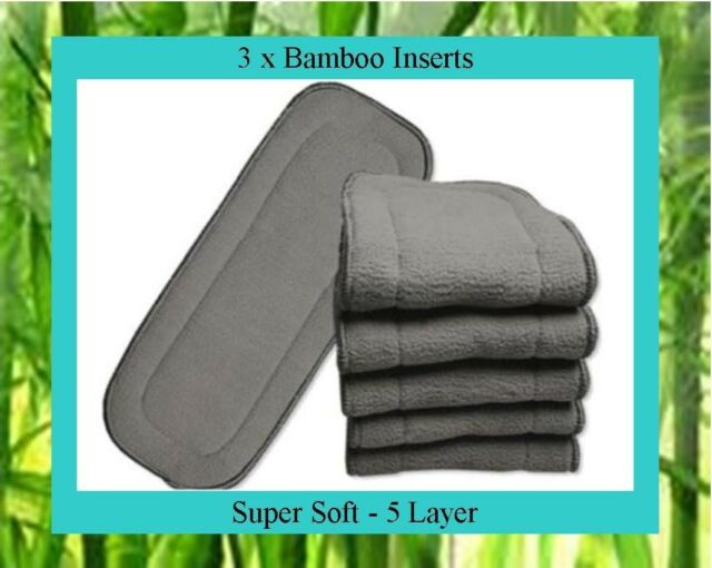 3 x Bamboo Charcoal Inserts / Boosters for Cloth Nappies
