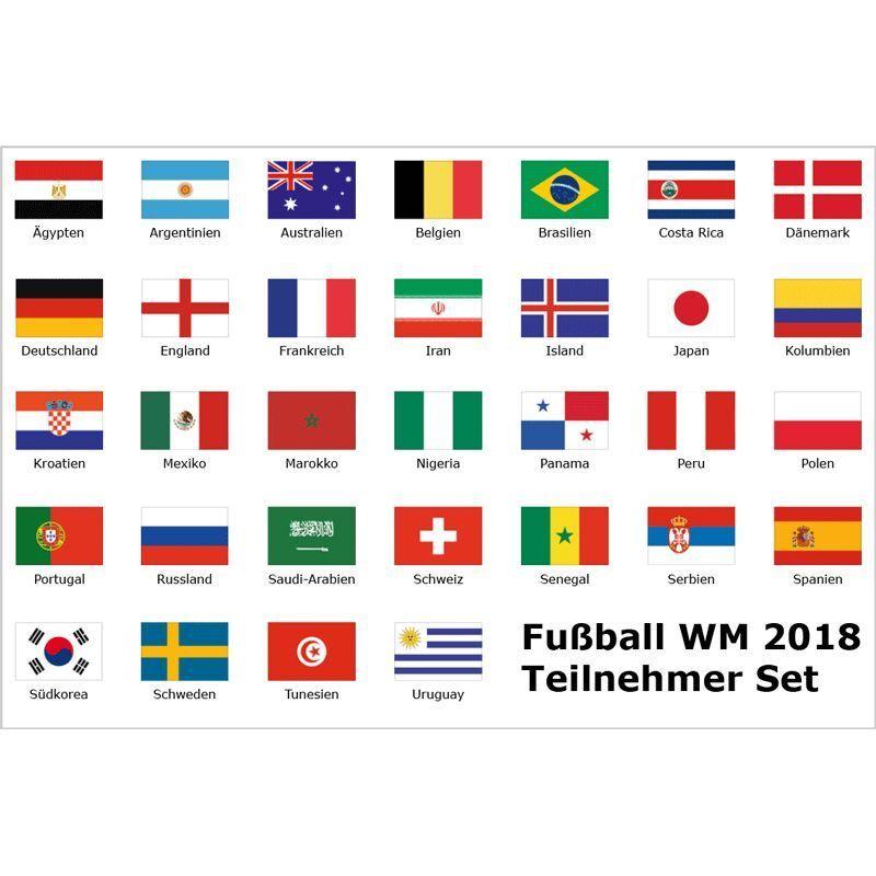 Fahnen Set WM 2018 alle 32 Teilnehmer  je. 90 X 150 mit 2 Ösen + 10 m  Girlande