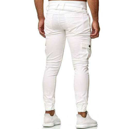 Mens Skinny Cargo Trousers Sports Tactical Jogging Slim Fit Casual Pants Bottoms