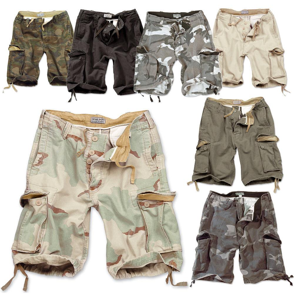 Vintage da Uomo Pantaloncini Corti Militari Bermuda Esercito