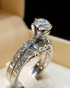 2-10-CT-Round-Cut-Diamond-Engagement-Bridal-Ring-Wedding-Set-14K-White-Gold-Over