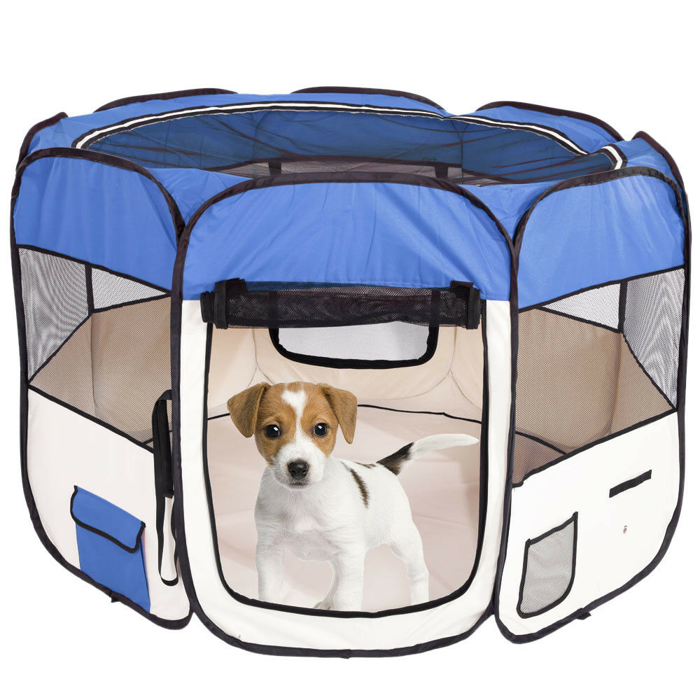 57  Portable Foldable 600D Oxford Cloth Mesh Pet Playpen Fence with Eight Panels