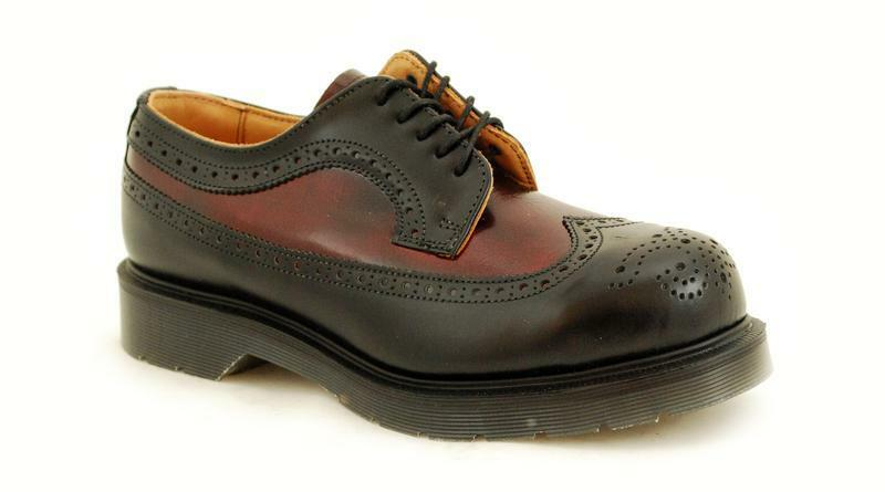 Solovair NPS sautope fatto in Engle 5 Eye Brogue nero Burgundy steelcap s053-l5