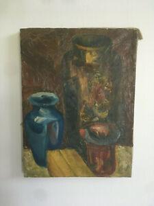 Antique-Primitive-Folk-Art-Still-Life-Oil-Painting