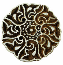 Hand Carved Crafting Wood Stamp Textile Wooden Floral Pattern Printing Block