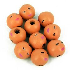 Pack of 20 Wooden Angel Doll Head Beads, 18 mm Faces -Hole 4 mm W15