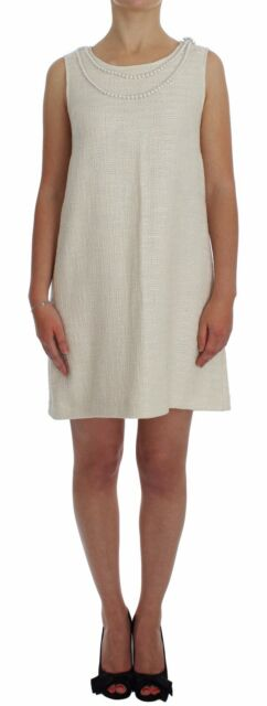NWT $1320 DOLCE & GABBANA D&G White Crystal Pearl Shift Dress Gown IT46 /US12/XL