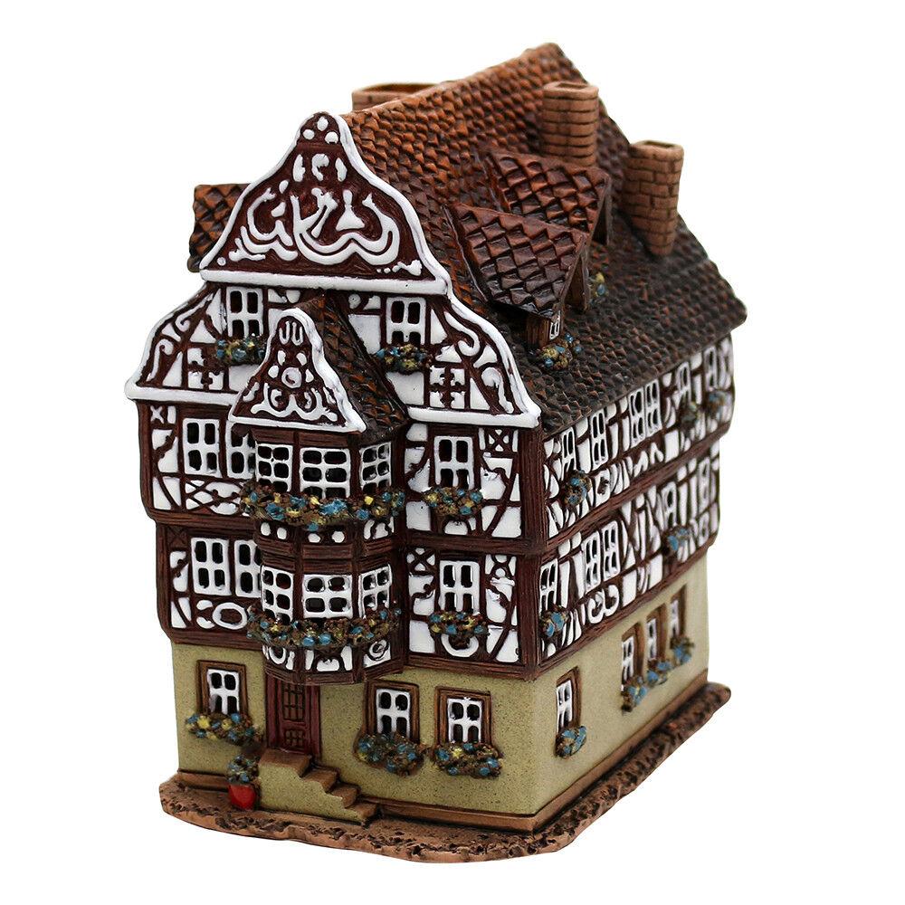 Keramik Teelichthaus Lichterhaus Fachwerkhaus mit Balkon 17 cm 40653