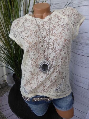 NEU 268 Vero Moda Spitzen Bluse Blusenshirt Gr M Creme Ton