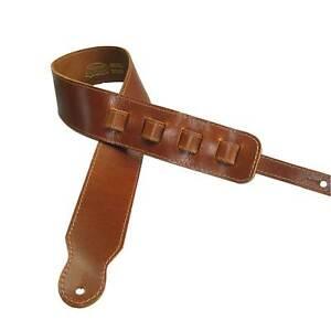 Capable Réglable Sangle De Guitare Fullgrain Vachette Cuir Cousu Acoustique/électrique Tan-ric Tan Fr-fr Afficher Le Titre D'origine