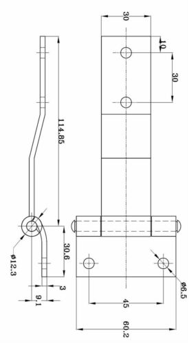 Anhängerscharnier Edelstahl Türscharnier gekröpft NFZ Scharnier DMF-H-40-1
